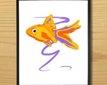 Goldfish Wall Art, Gold Fish Print, Fish Art, Animal Print, Nature Art, Ocean Print, Beach Print, Digital Download