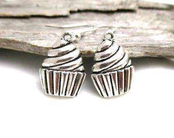 Silver Cupcake Earrings - Cupcake Jewelry - Cupcake Festival Earrings - Earrings for Sensitive Ears - Cake Lover Gift - Cupcakes