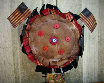 Primitive 4th of July Sunflower Shelf Sitter Rusty Spring Flags Buttons Picture