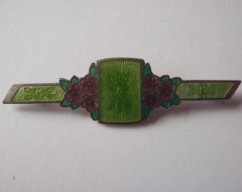 Vintage Brooch / Pin Green with Purple Flowers