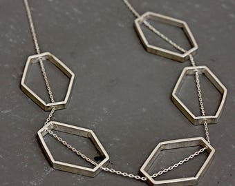 Sterling Silver Hexagon Necklace