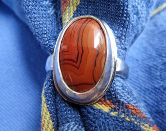 Red Dryhead Agate from Montana in Sterling Ring Size 7 & a Quarter