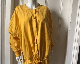 80's Vintage Bright Yellow Cotton Muslin Jacket Dress