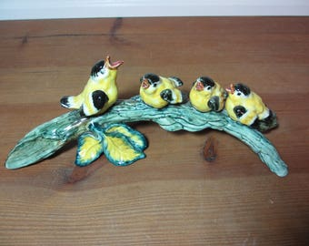 Vintage Ceramic Bird with Baby Birds on A Leafy Branch, Cottage, Edwardian, Shabby Chic, Home Decor, Staging