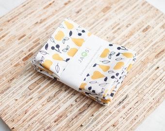 Small Organic Cloth Napkins - Set of 4 - (N5807s) - Mustard Pears Modern Reusable Fabric Napkins