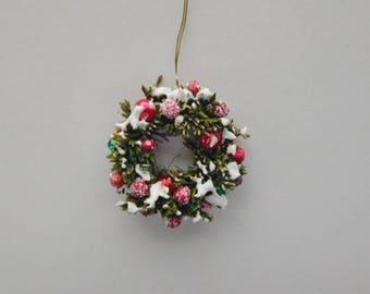 TIny Miniature Holiday Wreath with Snow
