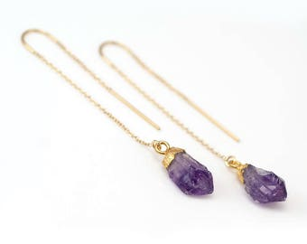 Raw Purple Amethyst Threader Earrings, February Birthstone Earrings, Rough Stone Earrings, Long Gold Earrings, Ear Threaders, Boho Earrings