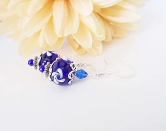 Navy Blue Lampwork Earrings, Dark Blue Glass Drop Earrings, Gift for Mother, Clip On Earrings, Sterling Silver Jewelry, Victorian Earrings