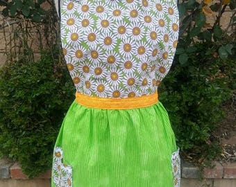 Womens apron-pefect gift for that special lady, green base with daisies and orange accents, perfect spring/summer look