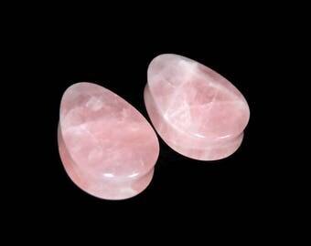 "Teardrop Rose Quartz Stone Plugs  - 8g, 6g, 4g, 2g, 0g, 00g, 7/16"", 1/2"", 9/16"", 5/8"", 3/4"", 7/8, 1"""