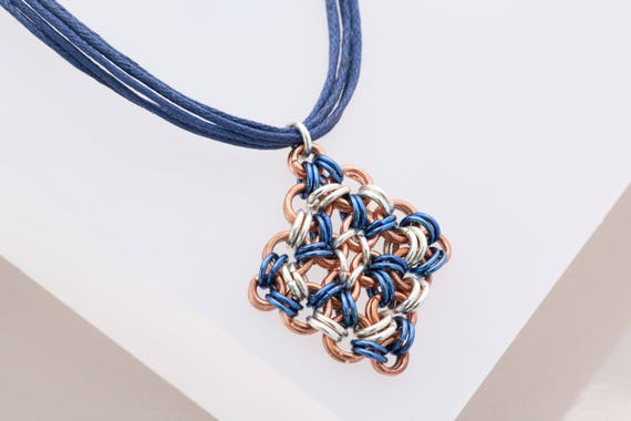 Chainmaille Star Pendant, Metal Cross, Blue Navy Square Cross Necklace, Aluminum Jewelry, Chainmail, Copper Silver Navy Necklace,