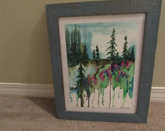 Original watercolor abstract
