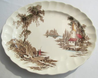 Oval Serving Platter in The Old Mill Brown Multicolor by Johnson Brothers