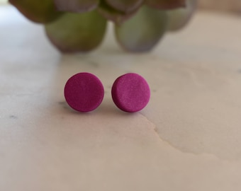 Fuschia polymer clay earrings, 12mm studs, handmade in Australia, hypoallergenic, gift idea.