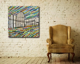 """Original oil painting on stretched canvas 36""""x36"""" multi-colored modern dairy farm buildings colorful sky landscape industrial architecture"""