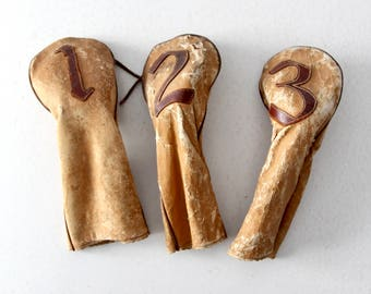 vintage leather golf club covers, golf headcovers