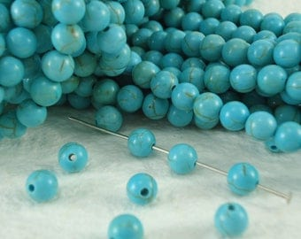 Turquoise howlite round 6mm Gemstone Beads Jewelry Making Supplies Full Strand 15.5 inches