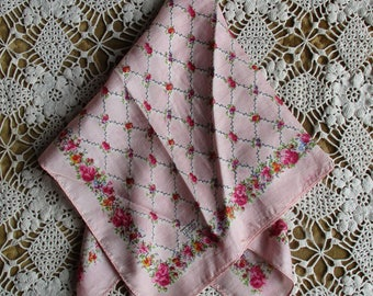 "Vintage Scarf, Liberty of London, Made in England, 17"" Square, Pink Roses on Pink, Trellis Pattern, Summer Scarf, Pocket Scarf"