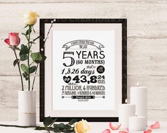 """Professional Print - Personalized Typography anniversary gift print with names and date """"I Have Loved You For"""" - 16x20 - Hardcopy Print"""