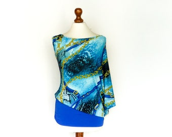 Vintage One Sleeve Top Blouse Tunic / Bright Blue / Gold Chains Print / Summer Party Bold Look / Batwing / 80s 90s / medium