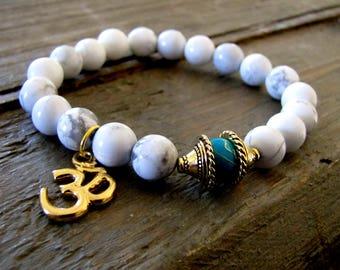 Acceptance | Patience | Howlite Mala Beads Ohm Bracelet Meditation Mala Bracelet Ohm Yoga Bracelet Self Love Wrist Mala Meditation Mala