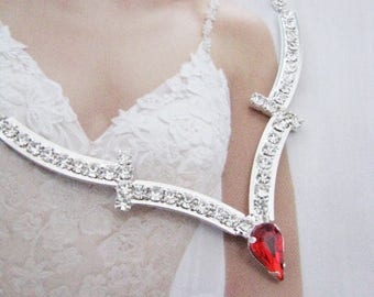 Red 2 piece set Wedding Necklace Bridal Necklace - Bridal Jewelry - Wedding Necklace - bridal set- Backdrop Bridal Necklace