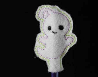 Pencil with embroidered felt smiling ghost topper