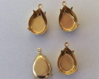 SPECIAL Polished Brass Settings Swarovski Elements 15x11mm pear 1 Ring 4 Prong Settings Qty - 4
