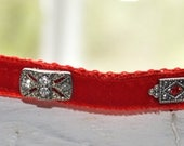 "Silva- Breakaway ""one of a kind"" swarovski red velvet  unique Cat Collar  handmade original design"