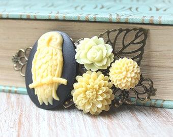 Owl Hair Clip- Owl Jewelry -Wedding Hair Comb - Fall Bridal Hair Clip - Cameo Wedding Hair Accessories - Flower Hair Clip - Floral Hair Comb