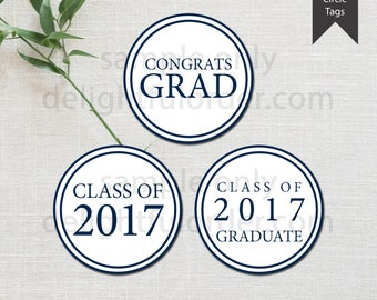 Graduation Party Circle Tags  - (2) PDF Printable Files - Instant Digital Download - Graduation Party Decor, Favor Tag, Cupcake Topper