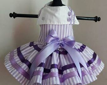 Dog Dress  Lavender with white stripes and roses