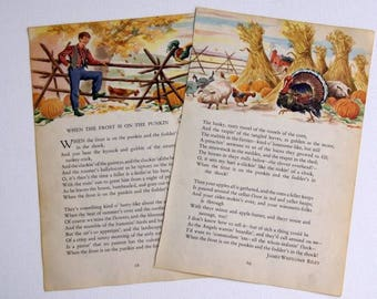 Vintage 1949 illustration and poem of When the Frost is on the Punkin by James Whitcomb Riley, Thanksgiving