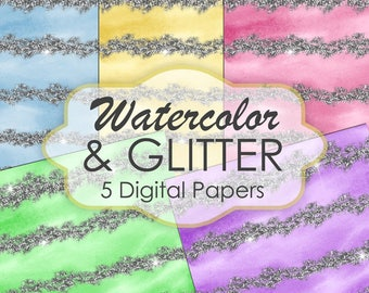 Watercolor and Glitter  Digital Paper, Watercolor Texture, Watercolor digital paper, Backgrounds Scrapbook Paper |INSTANT DOWNLOAD