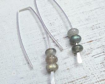 Labradorite Earrings. modern labradorite earrings. geometric hoops. Silver hoops. labradorite dangles. Minimalist hoops. minimalist earrings