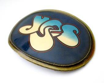 Rock Band YES Vintage 1970s Belt Buckle // Classic English Rock