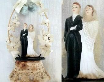 1940s 1950s Bride Groom Cake Topper // Mid Century Wedding Anniversary