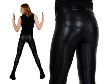 Men's Leather Leggings w. Jeans Back, Black Spandex Pants, Back Pocket Meggings, Rockstar, Glam Rock, Burning Man, by LENA QUIST
