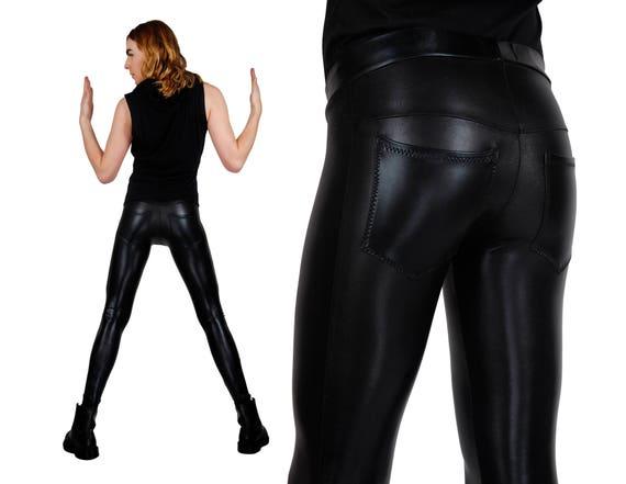Mens Black Shiny Jeans