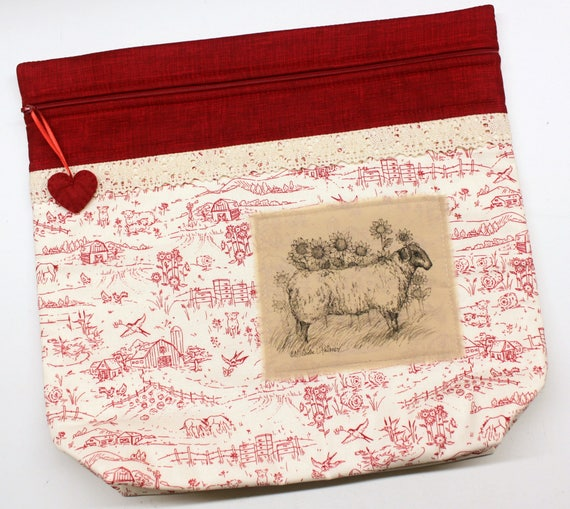MORE2LUV Limited Edition Red Toile Sheep Cross Stitch Embroidery Project Bag