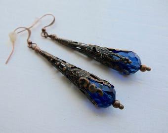 Vintage Look Capri Blue Crystal And Copper Dangle Cone Earrings