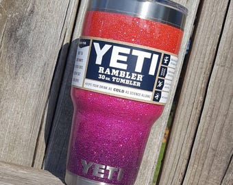 Glitter Yeti Cup Tumbler Stainless Steel 30 oz YETI Rambler Ombre Padre Island Sunset No2 Fire Neon Hot Orange Coral Pink Plum Purple