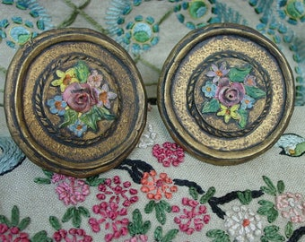 Antique Vintage Pair Drapes,Curtain Tie Backs Wood With Hand Painted Flowers in Relief
