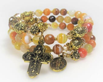 Yellow-Orange Agate Mix Semi-precious Rosary Wrap Bracelet Religious Gift Catholic Jewelry Bridesmaid Gift Mother's Gift Confirmation 540