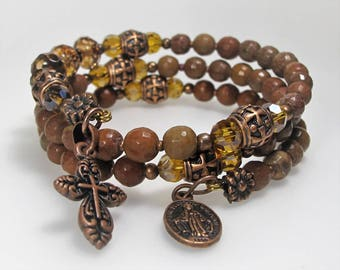 Agate Semi-precious Mix Rosary Wrap Bracelet Brown Catholic Jewelry Bridesmaid Gift Mother's Gift Confirmation Gift,Unique One-Of-A-Kind,529