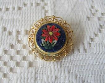 Vintage Micro Mosaic Brooch Poinsettia Flower Wire Work Filigree Frame