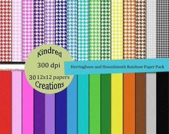 ON SALE Herringbone and Houndstooth Rainbow Digital Paper Pack 300 dpi 8.5x11 30 papers For Personal or Small Business Use
