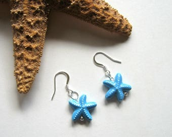 Turquoise Blue Ceramic Starfish Earrings - Summer earrings, Starfish, Beach earrings, Small earrings, Ocean,Lightweight, Nature inspired