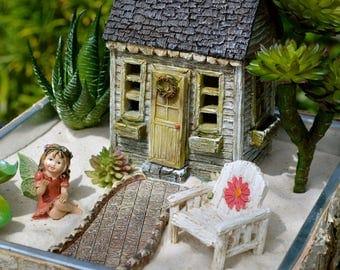 Fairy Garden Set ~ American Cottage ~ Door Opens ~ Daisy Chair  ~ Walkway ~ Use in Flower Garden ~ Planter Option ~ and ~  Fairy Option
