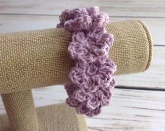 Purple Flower Bracelet, Crochet Bracelet, Cotton Bracelet, Summer Bracelet, Boho Bracelet, Floral Bracelet, Flower Jewelry, Boho Jewlery